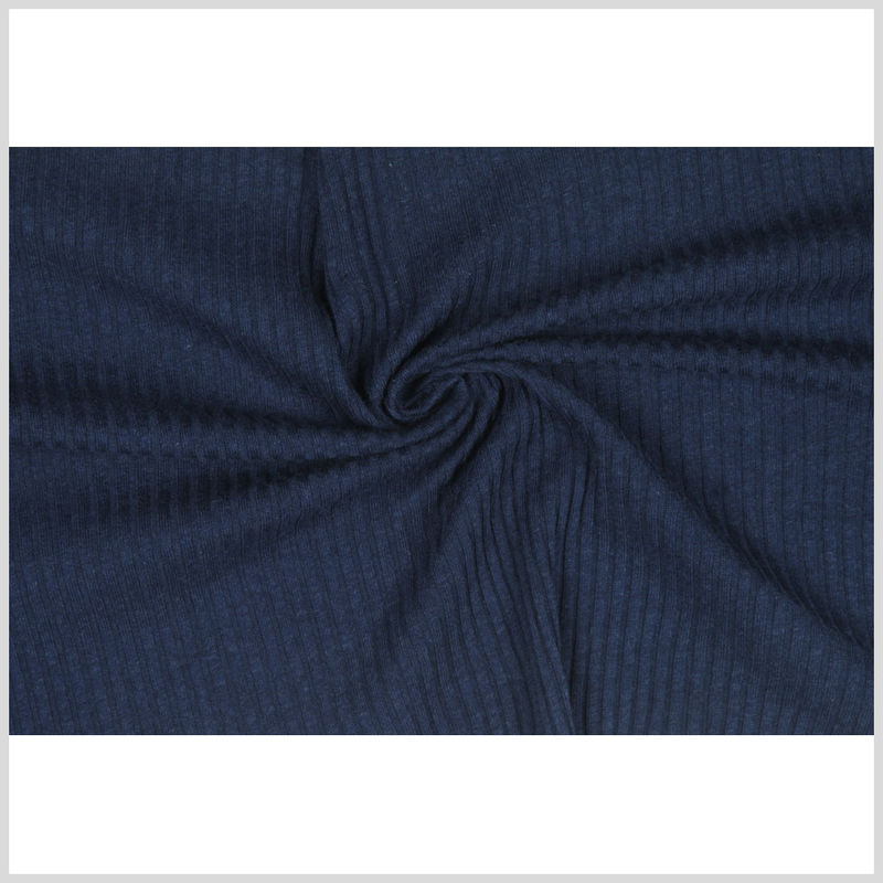 Antique Dark Blue Solid Rib Knit & Tubular - Full