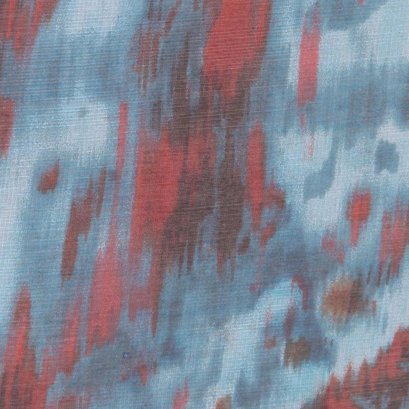 Oscar de la Renta Turquoise Abstract Silk Organza - Detail