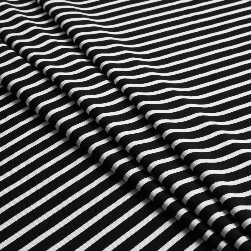 Black/Ecru Saint James Striped Ponte Knit - Folded