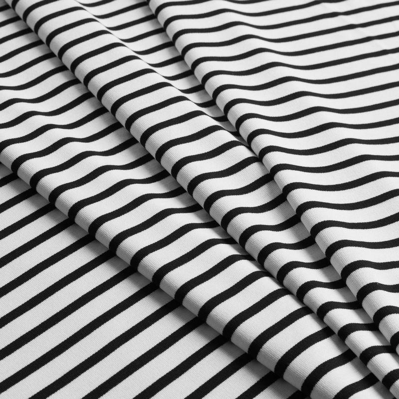 Ecru/Navy Saint James Striped Ponte Knit - Folded