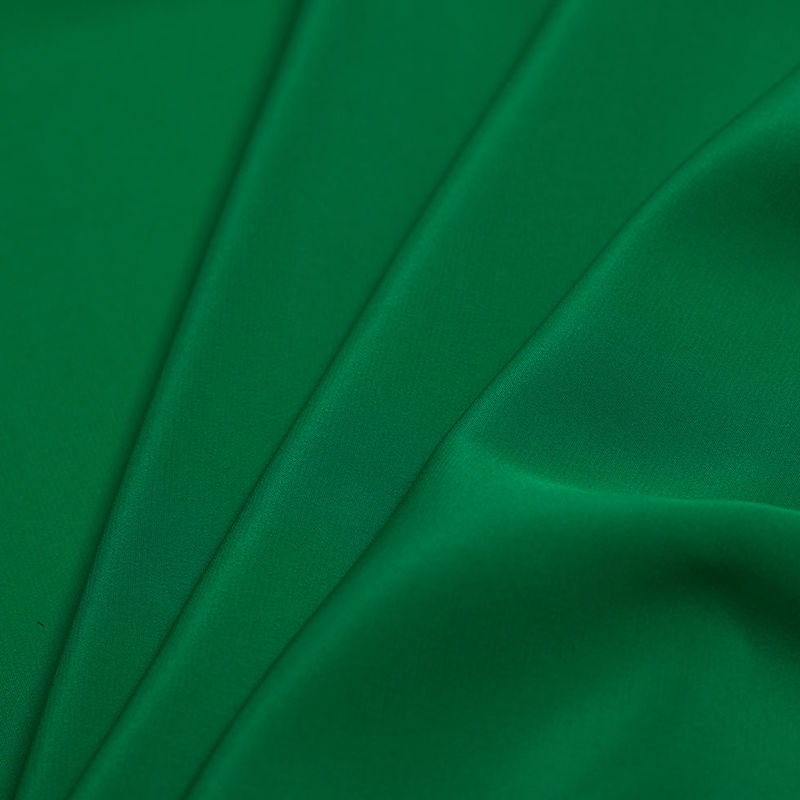 Kelly Green Silk Crepe de Chine - Folded