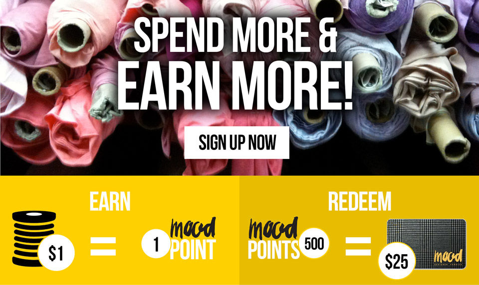 Spend More & Earn More! Sign Up Now! Earn | $1=1 Mood Point | Redeem | 500 Mood Points = $25 Mood Gift Card
